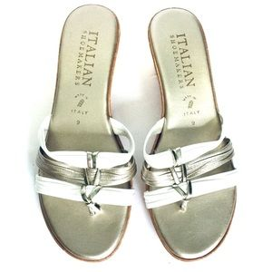 ITALIAN SHOEMAKERS | Metallic Wedge Sandals Size 9
